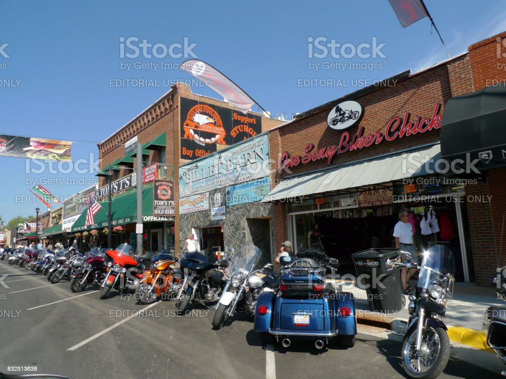 Sturgis, South Dakota - August 4, 2017: Downtown features bikes and shops stock photo