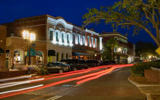 Downtown Fernandina Beach, FL at Night stock photo