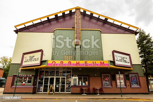 Flagstaff, Arizona USA - October 24, 2016: Cityscape view of the vintage Orpheum Theater, constructed in 1911, in the historic downtown area.