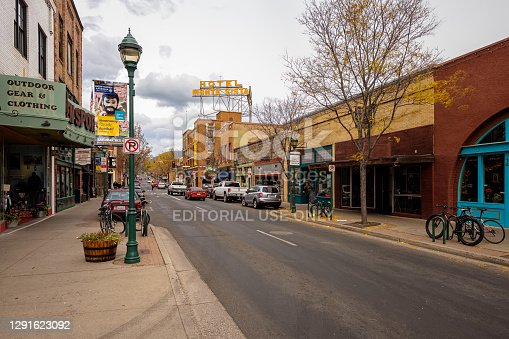 Flagstaff, Arizona USA - October 24, 2016: Cityscape view of the historic downtown area with vintage architecture.