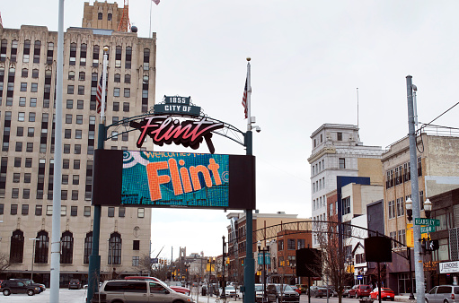 Downtown Flint Michigan Digital Sign Stock Photo - Download Image Now
