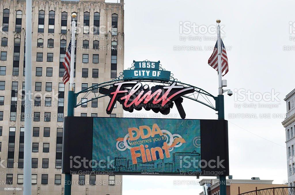 Downtown Flint Michigan Digital Sign stock photo