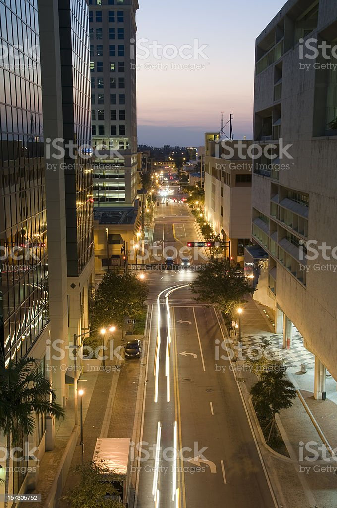 Downtown Fort Lauderdale at night royalty-free stock photo