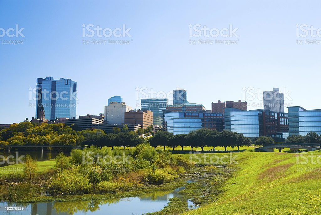Downtown Fort Worth skyline and riverbank stock photo
