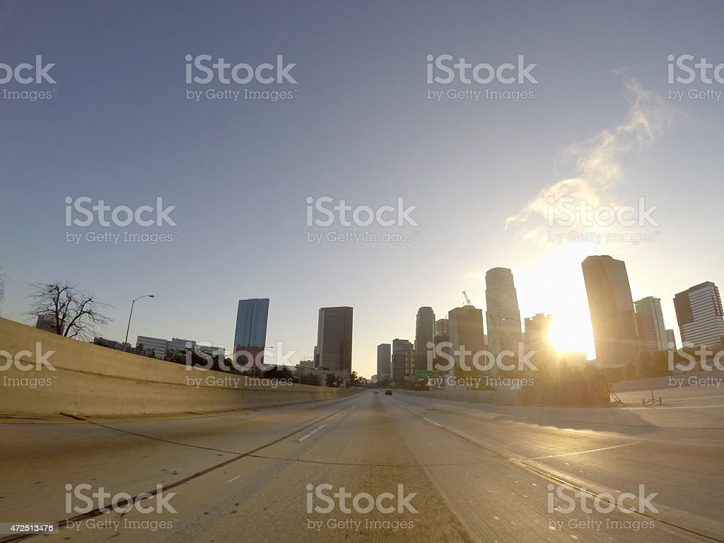 Downtown Freeway Dawn in Los Angeles stock photo