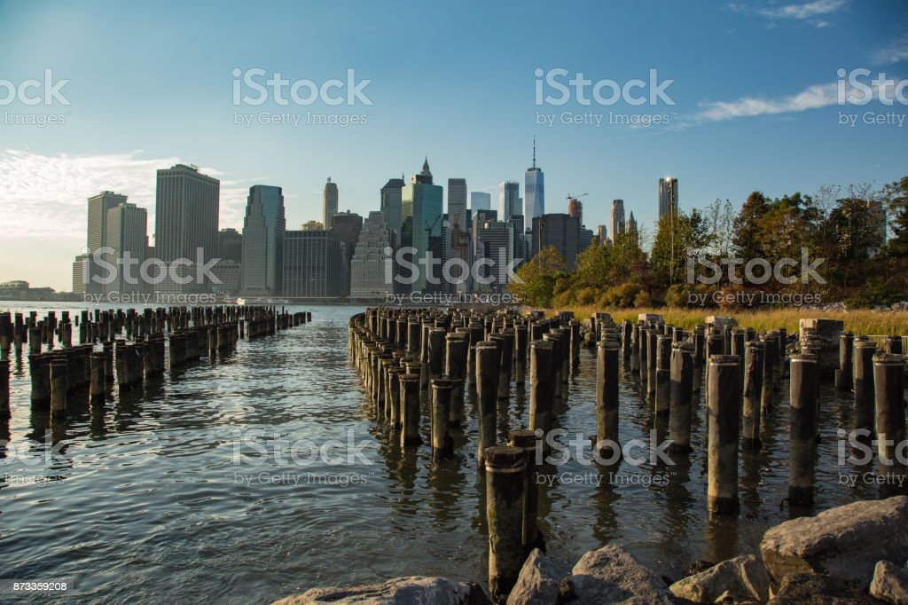 Downtown from Brooklyn stock photo