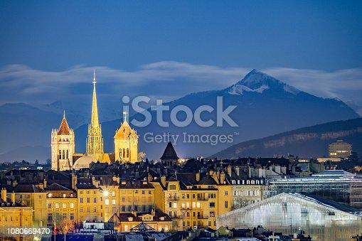 istock Downtown Geneva, beneath snowy mountains 1080669470