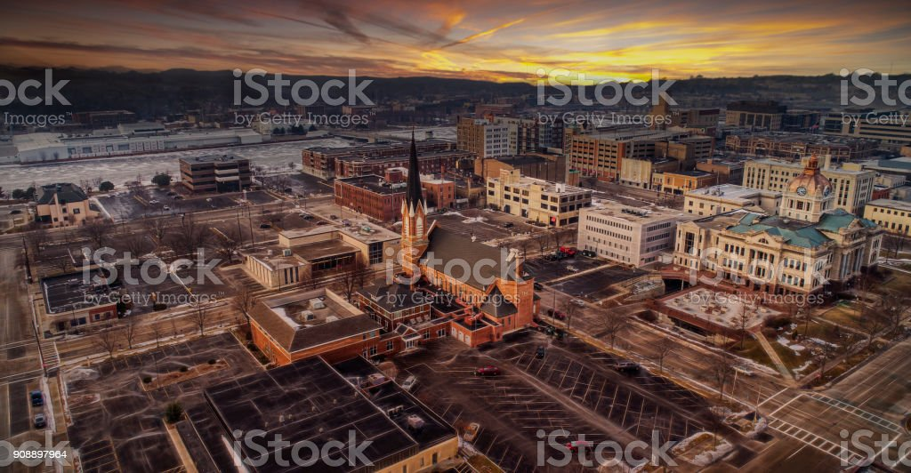 Downtown Green Bay Wisconsin in the Winter stock photo