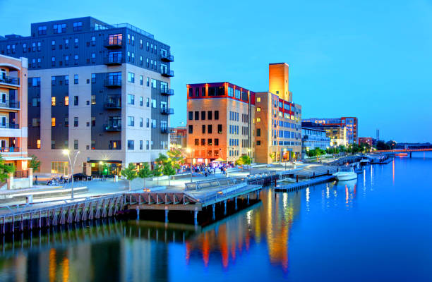 downtown green bay, wisconsin skyline - green bay wisconsin stock photos and pictures