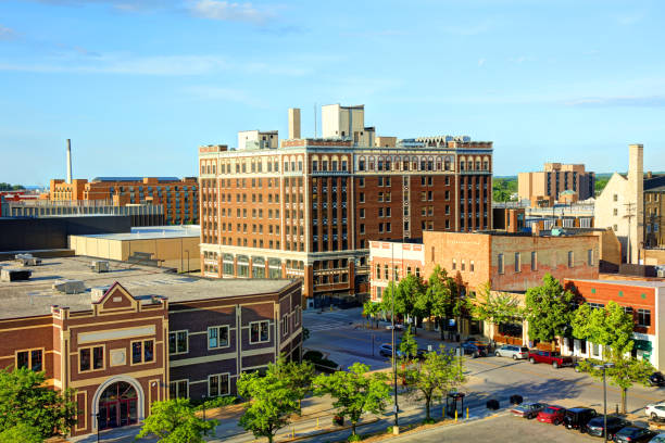 downtown green bay wisconsin skyline - green bay wisconsin stock photos and pictures