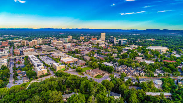 Downtown Greenville SC South Carolina Skyline Aerial Drone Aerial View of the Downtown Greenville, South Carolina SC Skyline liberty bridge budapest stock pictures, royalty-free photos & images