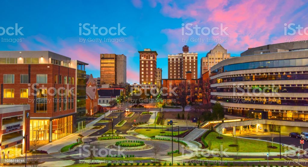 Downtown Greenville, South Carolina Skyline Cityscape - Royalty-free Aerial View Stock Photo