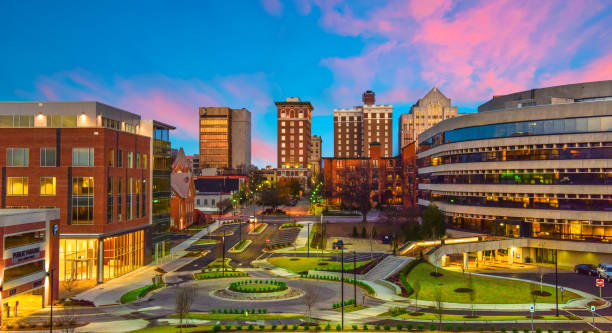 Downtown Greenville, South Carolina Skyline Cityscape Downtown Greenville, SC South Carolina Skyline Cityscape at Sunrise liberty bridge budapest stock pictures, royalty-free photos & images