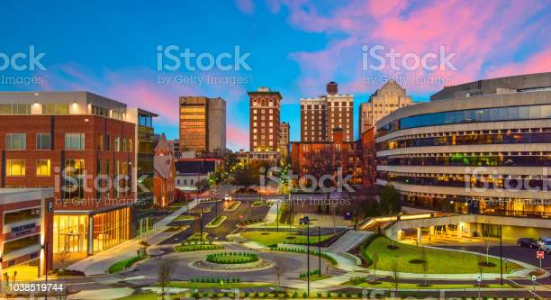 Downtown Greenville South Carolina Skyline Cityscape Stock Photo - Download Image Now