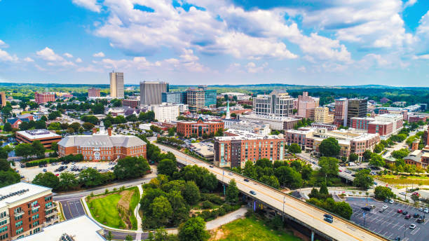 Downtown Greenville, South Carolina, United States Skyline Drone Aerial of the Downtown Greenville, South Carolina SC Skyline south carolina stock pictures, royalty-free photos & images