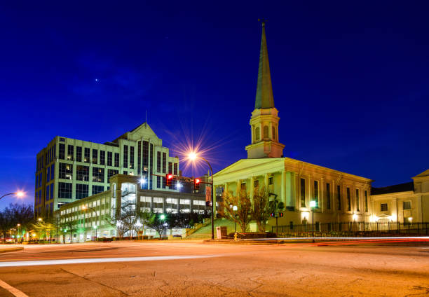 Downtown Greenville, South Carolina, USA Downtown Greenville South Carolina SC at Night. liberty bridge budapest stock pictures, royalty-free photos & images