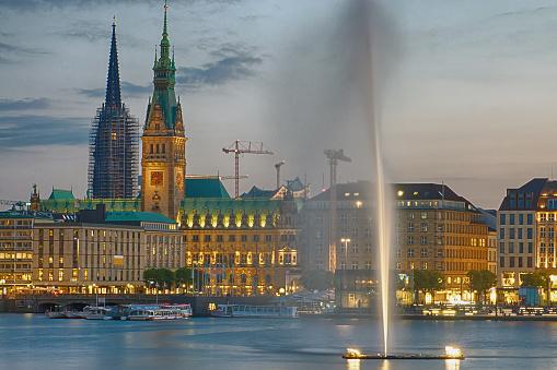 Downtown Hamburg at dawn