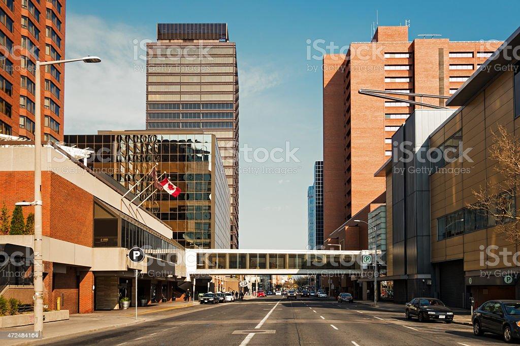 Downtown Hamilton Ontario Canada King Street West stock photo