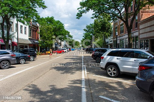 istock Downtown Holland a tourist, vintage, old looking dutch town in western Michigan on a sunny summer day 1164257799