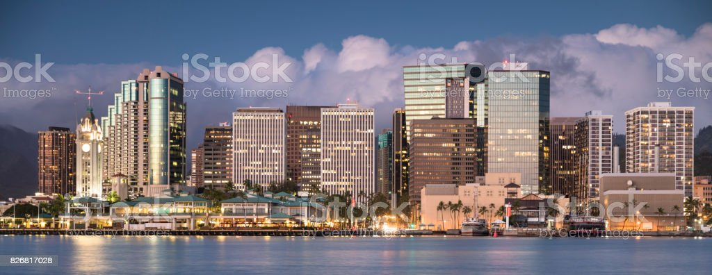 Downtown Honolulu Hawaii and the Aloha Tower panorama stock photo