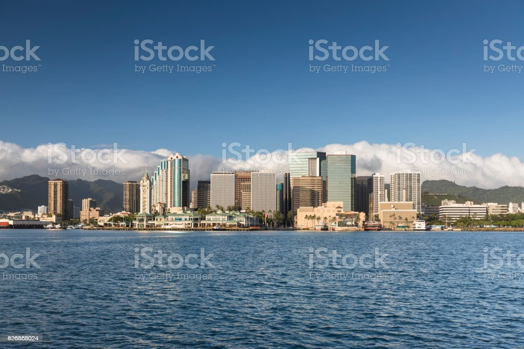 Downtown Honolulu Hawaii and the Aloha Tower stock photo