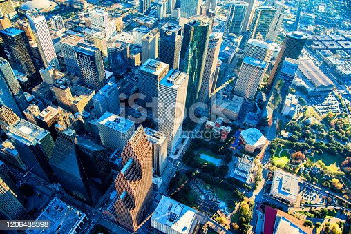 The downtown skyskyscrapers of Houston, Texas shot from an altitude of about 1500 feet directly over the city.