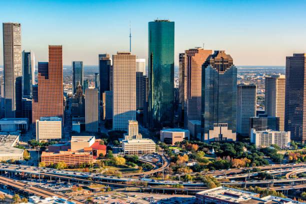 Downtown Houston Aerial View stock photo
