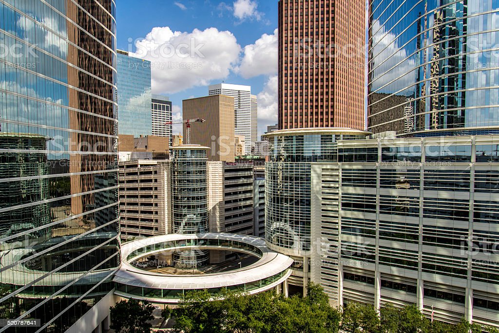 Downtown Houston highrise buildings stock photo