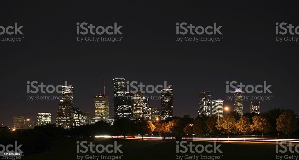 Downtown Houston Night Pano stock photo