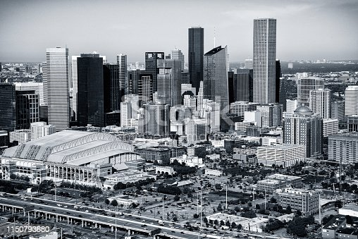 The downtown skyline of Houston, Texas shot from an altitude of about 1000 feet during a helicopter photo flight.