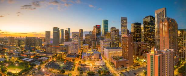No centro horizonte de Houston - foto de acervo