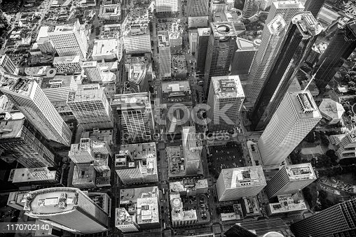 Aerial view in black and white from directly over the downtown district of Houston, Texas.