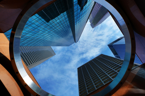This is a photo taken from a low angle with a wide lens looking up at the tall skyscrapers in downtown Houston.Click on the links below to view lightboxes.
