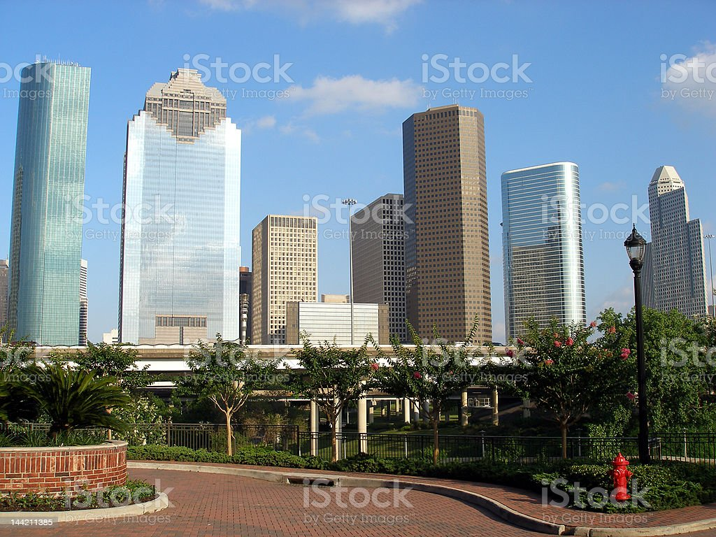 Downtown Houston viewed from a garden cul-de-sac royalty-free stock photo