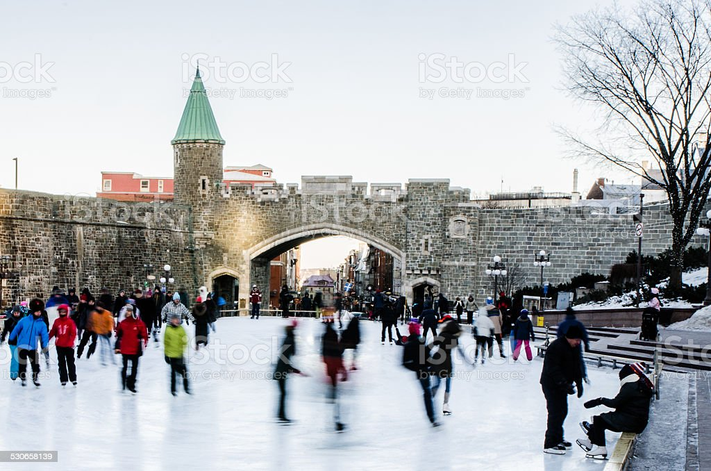 Downtown ice rink stock photo
