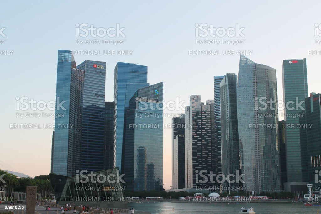 Downtown in Singapore. City background with buildings. Financial center of town stock photo