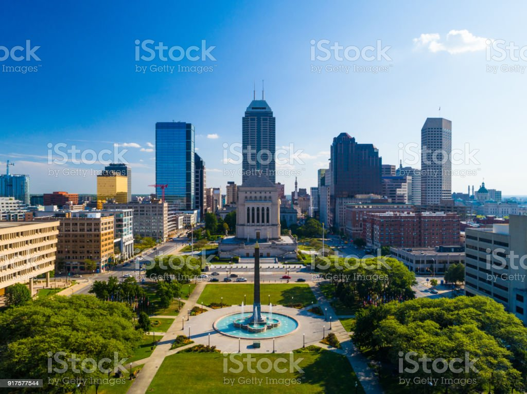 Downtown Indianapolis Aerial with Park and War Memorial royalty-free stock photo