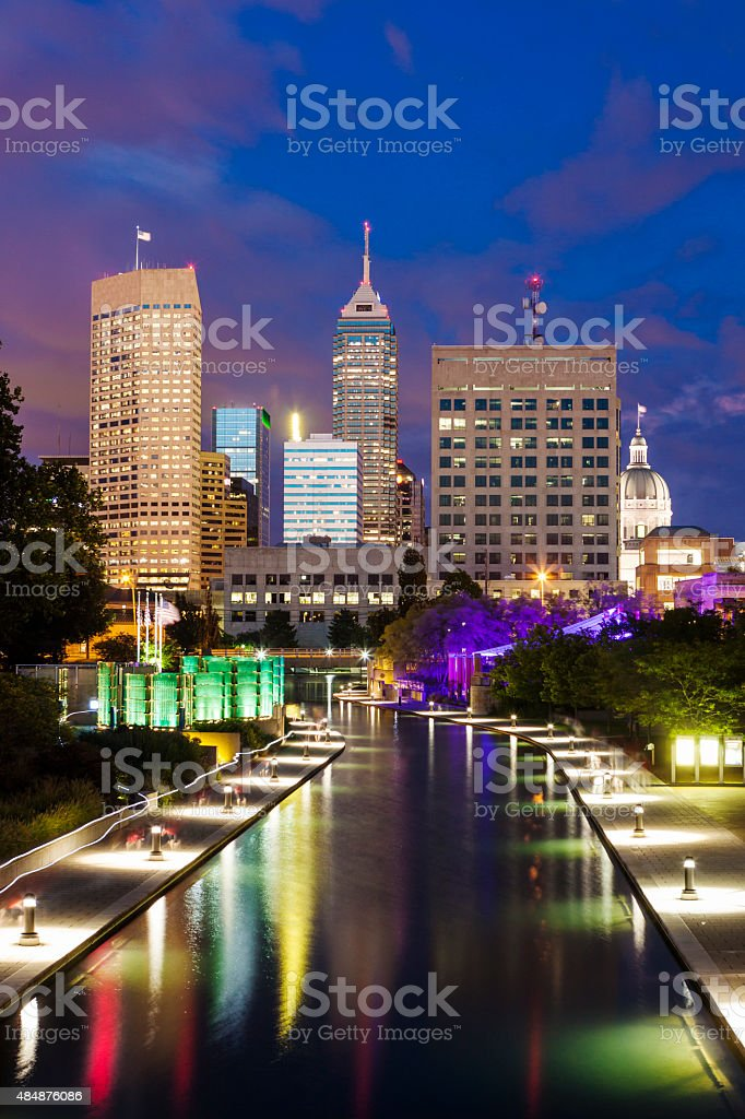 Downtown Indianapolis, Indiana At Night stock photo