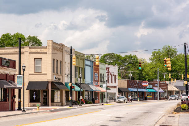 Downtown Inman in upstate S.C. Inman, S.C. / USA - May 4, 2019: View of the downtown area of historic Inman, South Carolina, a farming town in upstate, in Spartanburg county. spartanburg stock pictures, royalty-free photos & images