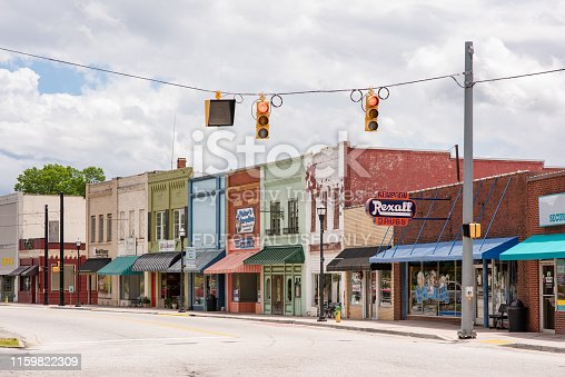 Inman, S.C. / USA - May 5, 2019: View of the downtown area of historic Inman, South Carolina, a farming town in upstate, in Spartanburg county.