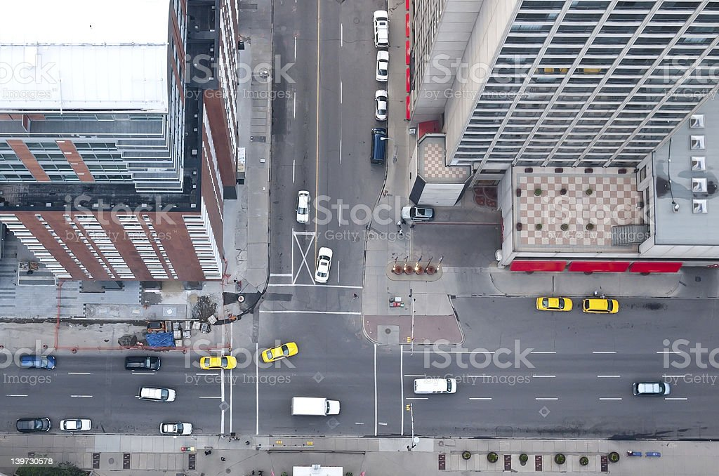 Downtown intersection stock photo