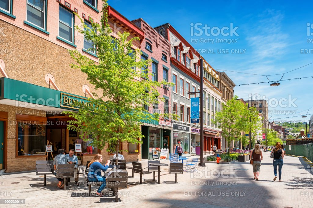 Downtown Ithaca New York State USA stock photo
