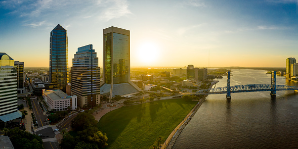 The downtown skyline at sunrise in Jacksonville, Florida USA on July 14th, 2020.