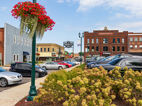 Johnson City, TN, USA-9/30/18: Downtown image showing intersection of Market and Commerce.