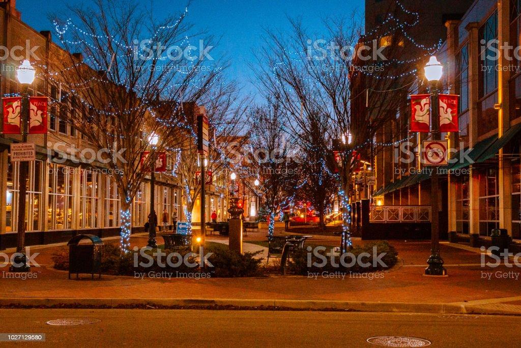 Downtown Kalamazoo Michigan on a winter evening Downtown Kalamazoo Michigan on a winter evening Adventure Stock Photo