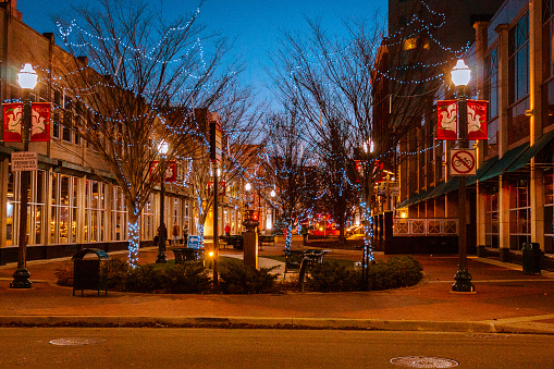 Downtown Kalamazoo Michigan On A Winter Evening Stock Photo - Download Image Now