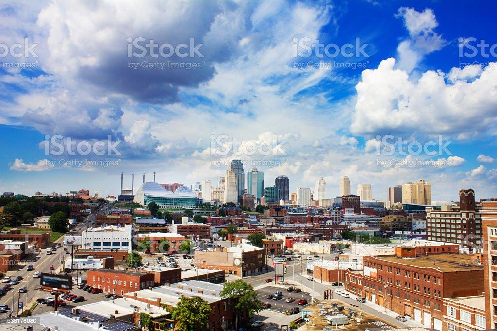 Downtown Kansas City, Missouri under blue sky and clouds stock photo