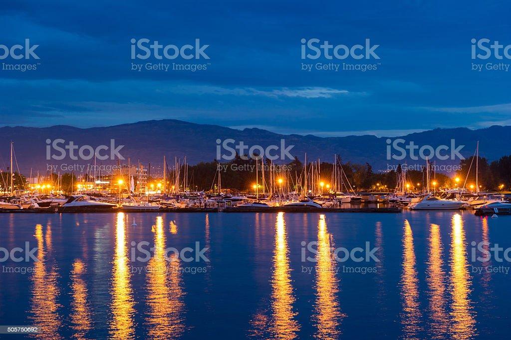 Downtown Kelowna Harbour at dusk stock photo