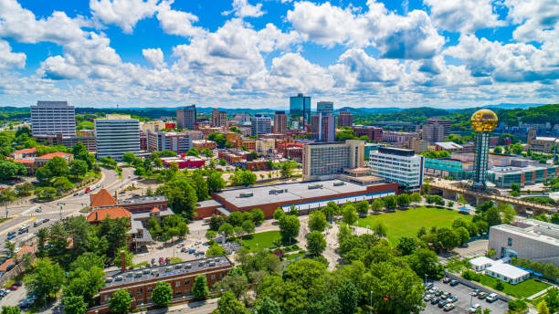 Downtown Knoxville Tennessee Skyline Aerial Downtown Knoxville Tennessee Skyline Aerial. tennessee river stock pictures, royalty-free photos & images