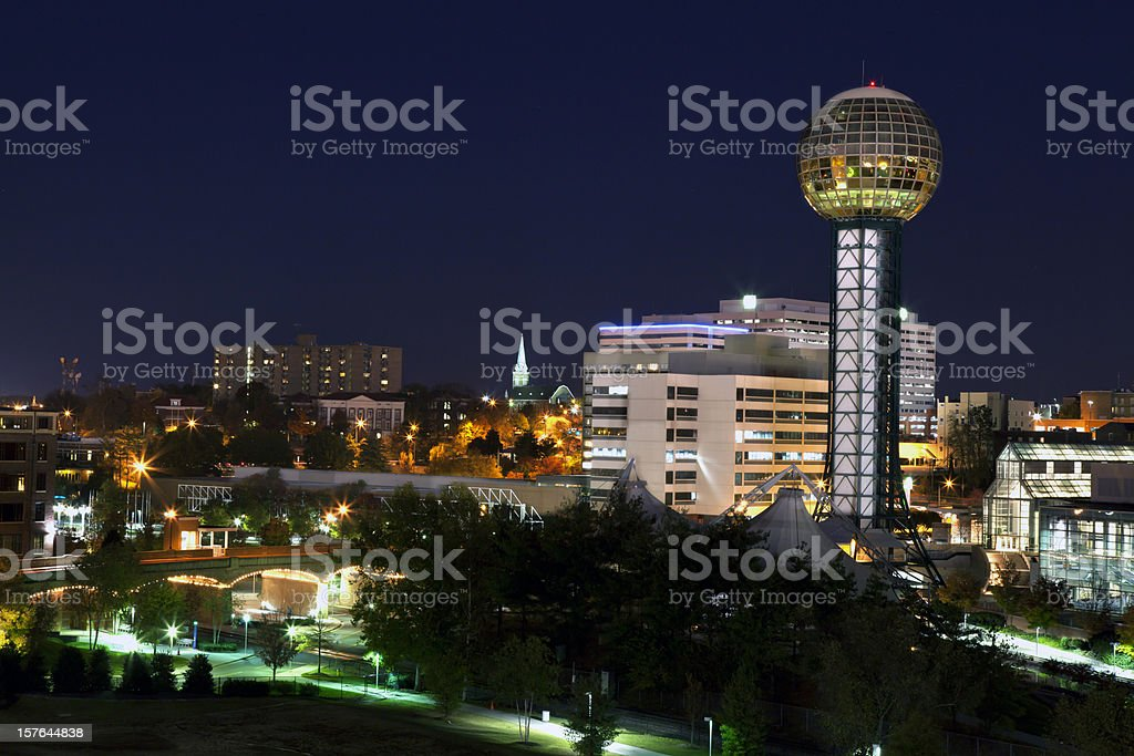 Downtown Knoxville Tennessee skyline night stock photo